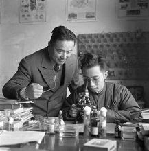 20世纪50年代的谈家桢(左)